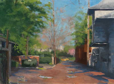 Spring Alley - $700 - 12 x 16 Oil on Linen