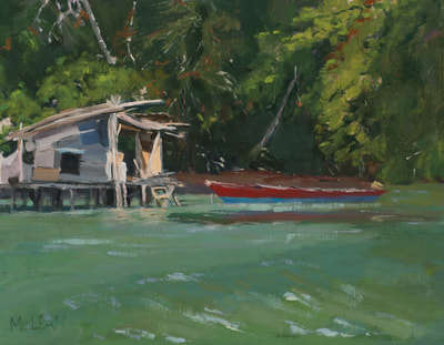 Somewhere in the Raja Ampat - SOLD $600 11 x 14 Oil on Linen