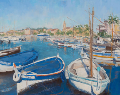Boats at Sanary Sur Mer - SOLD - $1,200 - 16 x 20 Oil on Linen