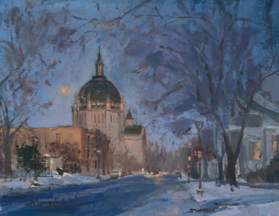 Cathedral at Twilight - $600 - 11x14 Oil on Linen