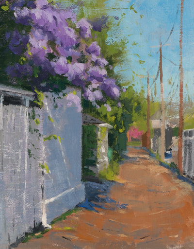 Lilac Alley - $400 - 8x10 Oil on Linen