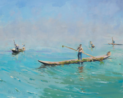 Morning on Inle Lake - $1,200 - 16 x 20 Oil on Linen