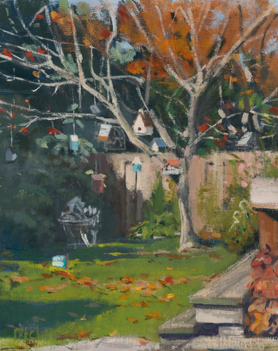 Peaking Into the Garden - SOLD - $350 - 8 x 12 Oil on Linen