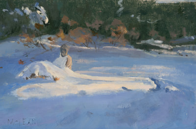 Buddha in the Snow - SOLD - $400 - 8 x 12 Oil on Linen